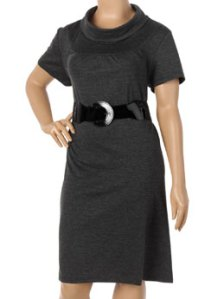 Belted Cowl Neck Dress. Jazzy a plain dress with colored or textured stockings.