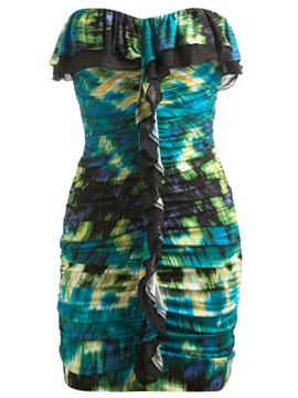 Blurred Ikat Ruffle Tube Dress (Arden B, $34.50)