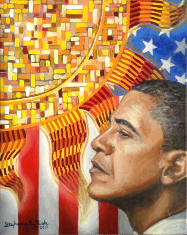 "Stephanie painted ""Here Comes the Sun"" to commemorate the reelection of President Barack Obama. Click the image for prints."