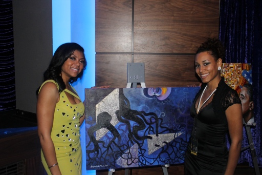 Actress Taraji P. Henson visited Stephanie's exhibit at the Inaugural Gala at the Howard Theater.