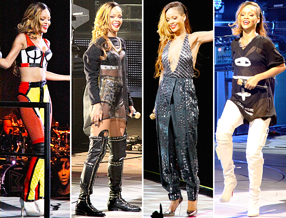 Rihanna captured rock star chic with her performance outfits during her Diamonds World Tour. (Photo: Splash News)
