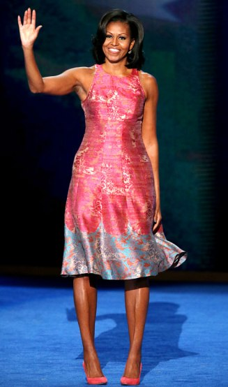 First Lady Michelle Obama took the stage at the Democratic National Convention wearing a Tracy Reese original.